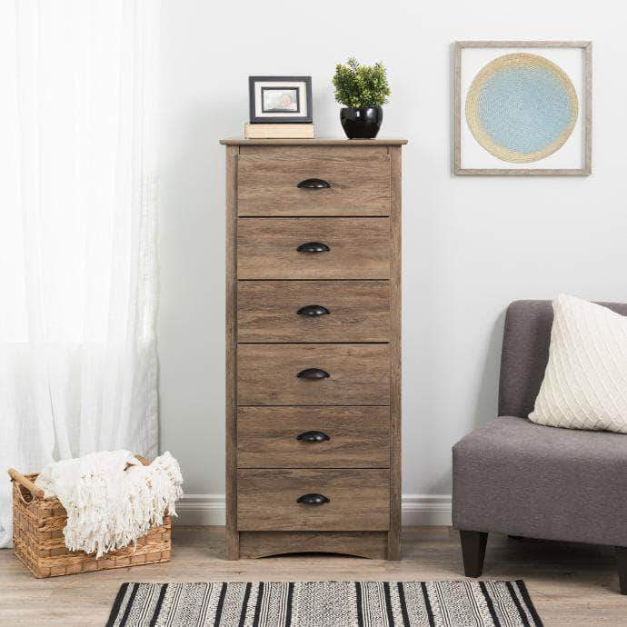 Modubox Sonoma Bedroom Drifted Grey Sonoma Tall 6 Drawer Chest - Multiple Options Available