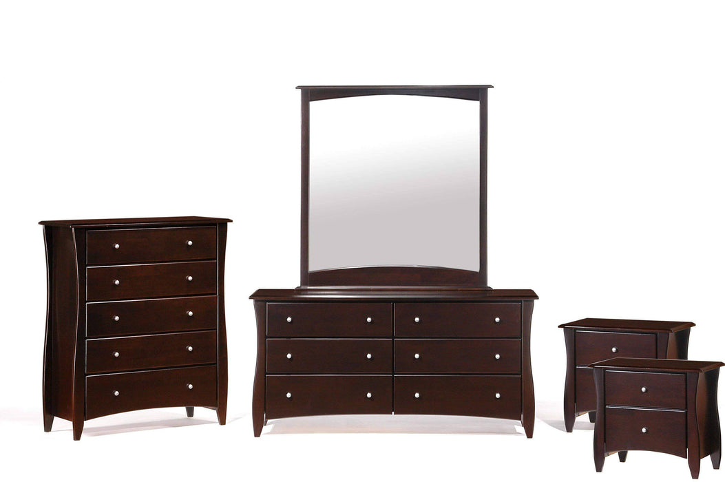 Night and Day Bedroom Set Chocolate Clove 5 Piece Casegood Set - Available in 6 Colours