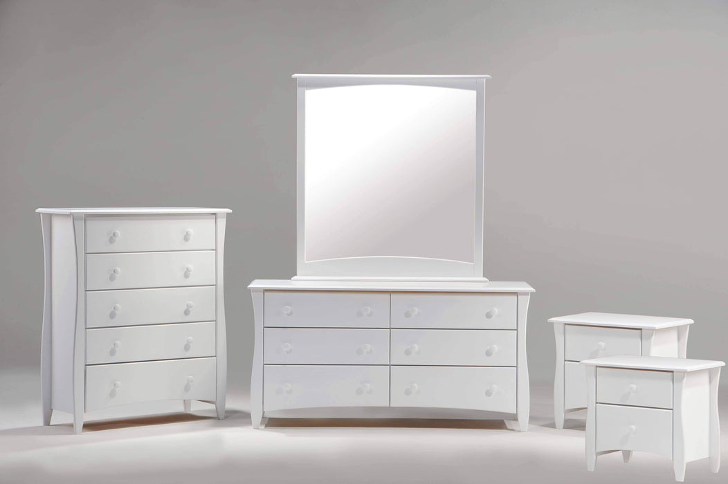 Night and Day Bedroom Set White Clove 5 Piece Casegood Set - Available in 6 Colours