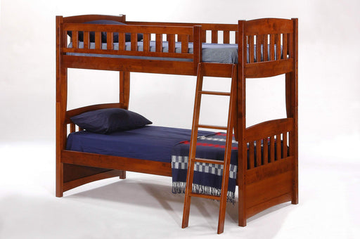 Night and Day Bunk Bed Cherry Cinnamon Twin Over Twin Bunk Bed - Available in 5 Colours