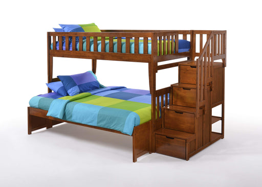 Night and Day Bunk Bed Cherry Peppermint Twin Over Full Bunk Bed With Stairway Chest - Available in 5 Colours