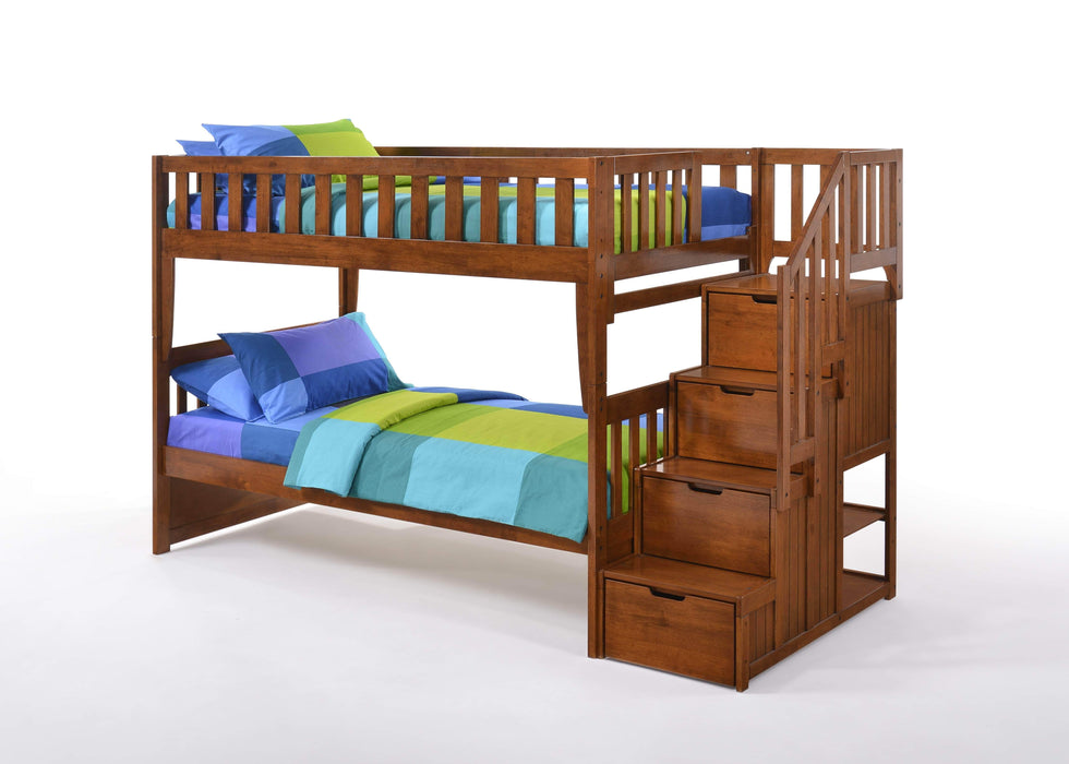Night and Day Bunk Bed Cherry Peppermint Twin Over Twin Bunk Bed With Stairway Chest - Available in 5 Colours