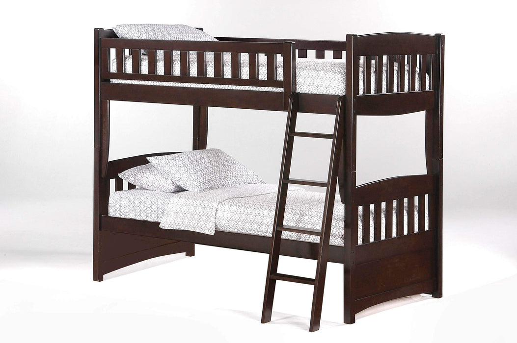 Night and Day Bunk Bed Chocolate Cinnamon Twin Over Twin Bunk Bed - Available in 5 Colours