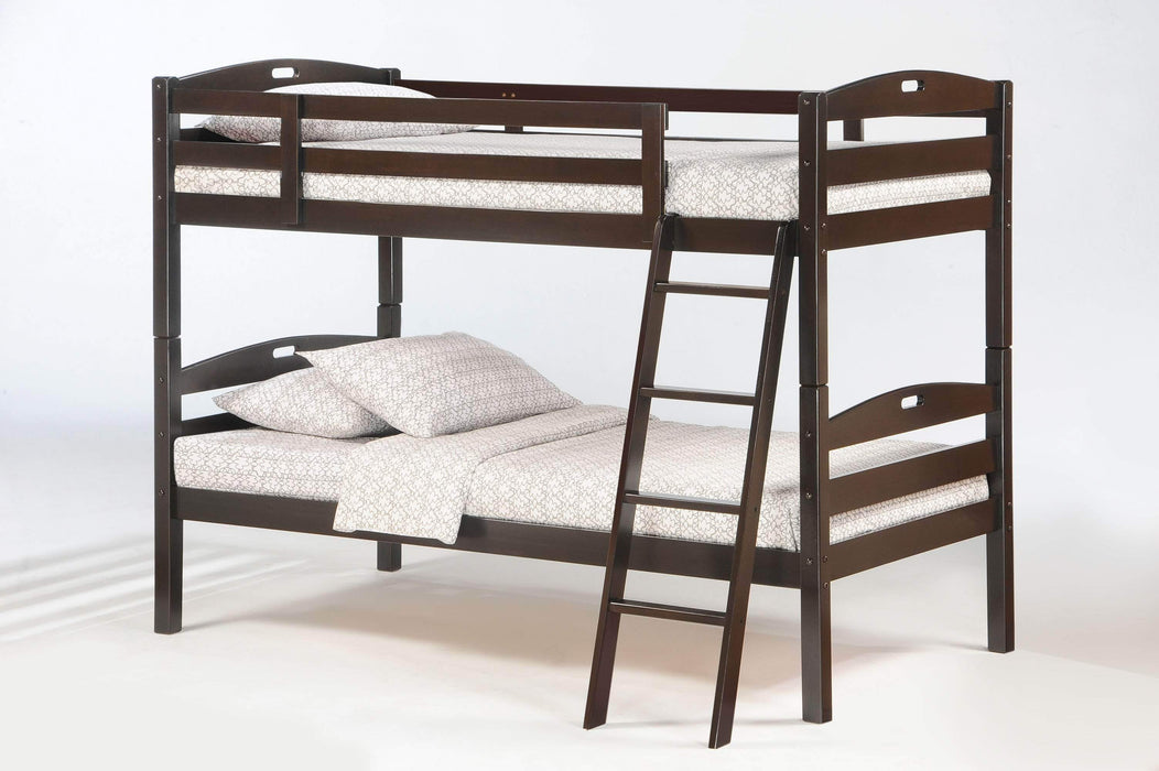 Night and Day Bunk Bed Chocolate Sesame Twin Over Twin Bunk Bed - Available in 3 Colours