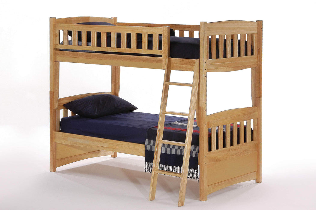 Night and Day Bunk Bed Natural Cinnamon Twin Over Twin Bunk Bed - Available in 5 Colours