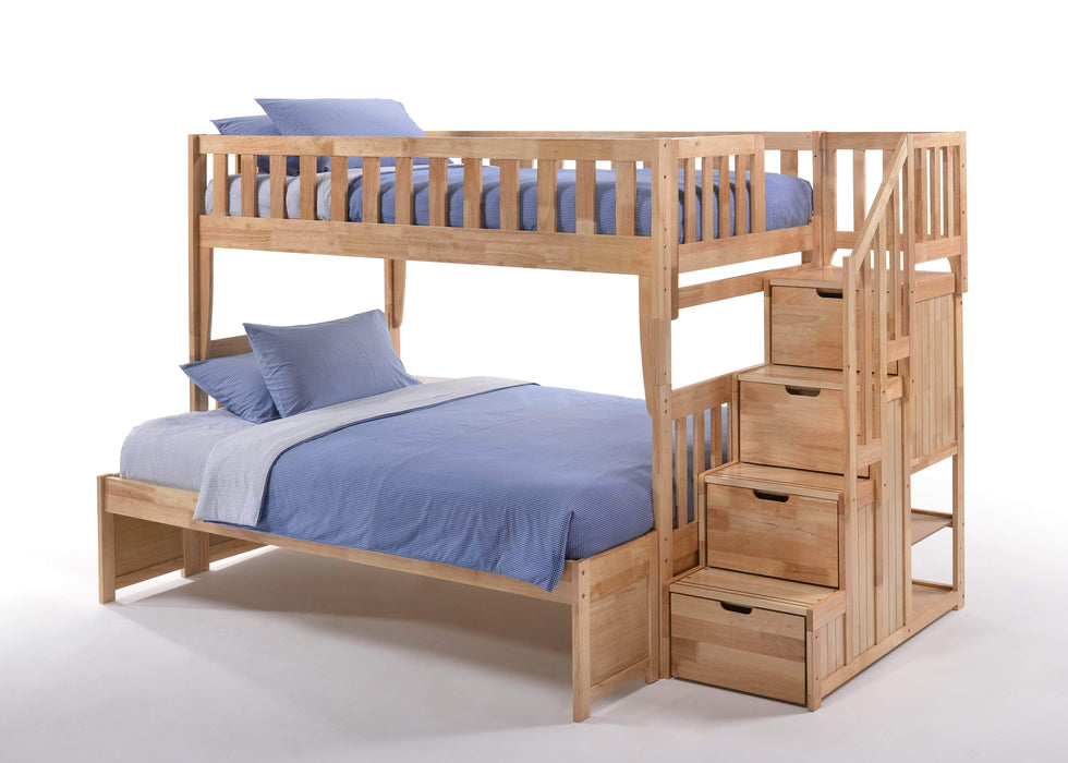Night and Day Bunk Bed Natural Peppermint Twin Over Full Bunk Bed With Stairway Chest - Available in 5 Colours