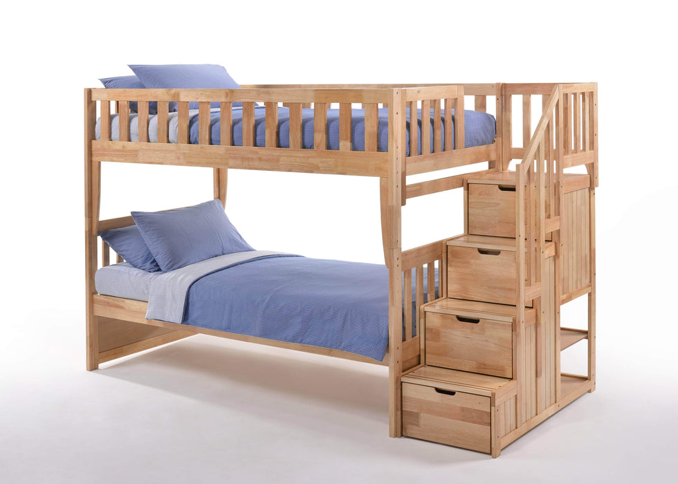 Night and Day Bunk Bed Natural Peppermint Twin Over Twin Bunk Bed With Stairway Chest - Available in 5 Colours