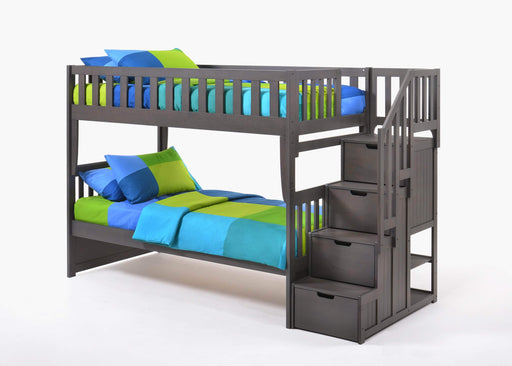 Night and Day Bunk Bed Stonewash Peppermint Twin Over Twin Bunk Bed With Stairway Chest - Available in 5 Colours