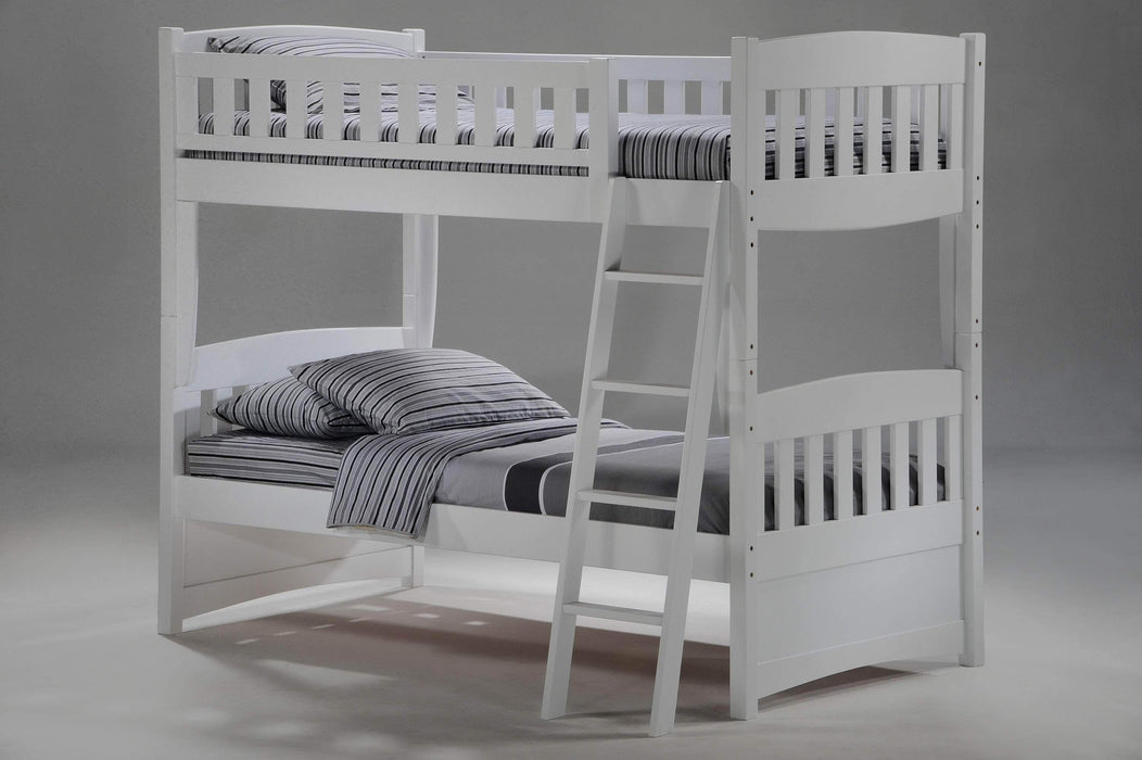 Night and Day Bunk Bed White Cinnamon Twin Over Twin Bunk Bed - Available in 5 Colours