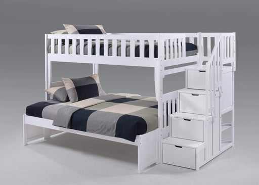 Night and Day Bunk Bed White Peppermint Twin Over Full Bunk Bed With Stairway Chest - Available in 5 Colours