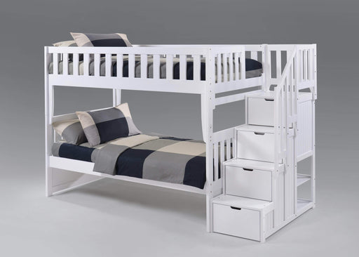 Night and Day Bunk Bed White Peppermint Twin Over Twin Bunk Bed With Stairway Chest - Available in 5 Colours