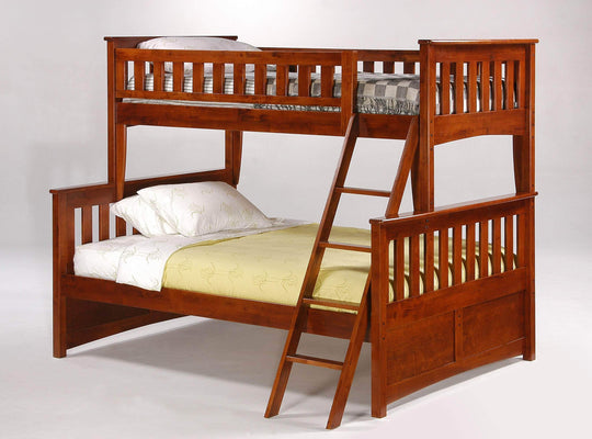 Night and Day Cherry Ginger Twin Over Full Bunk Bed - Available in 5 Colours
