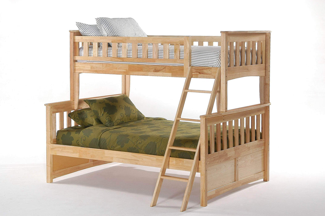 Night and Day Natural Ginger Twin Over Full Bunk Bed - Available in 5 Colours