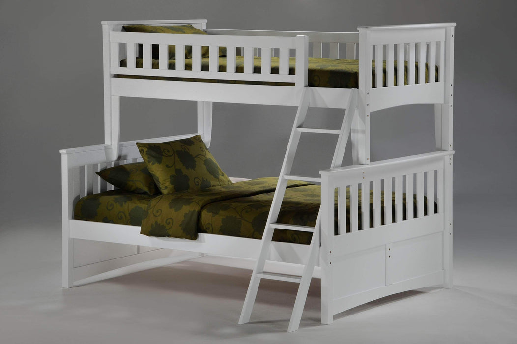 Night and Day White Ginger Twin Over Full Bunk Bed - Available in 5 Colours