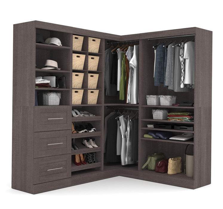 Pending - Bestar Closet Organizer Bark Grey Pur 83W Walk-In Closet Organizer - Available in 2 Colours