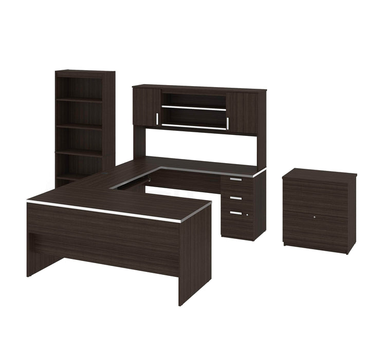 Pending - Bestar Desk Sets Dark Chocolate Ridgeley Executive Computer Desk with Hutch, a Lateral File Cabinet, and a Bookcase - Available in 2 Colours
