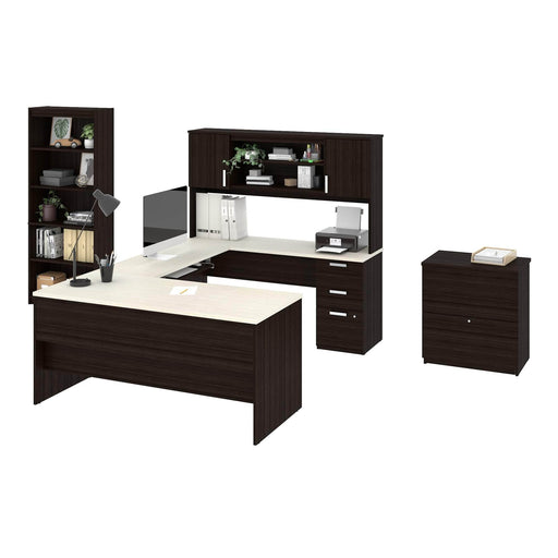 Pending - Bestar Desk Sets Ridgeley Executive Computer Desk with Hutch, a Lateral File Cabinet, and a Bookcase - Available in 2 Colours