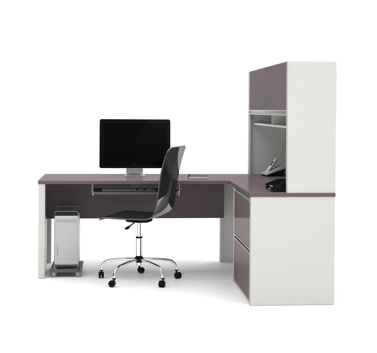 Pending - Bestar L-Desk Connexion L-Shaped Desk with Lateral File Cabinet and Hutch - Available in 3 Colours