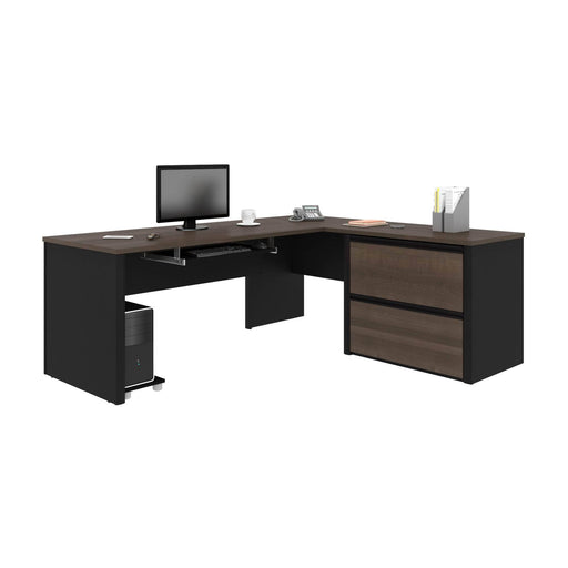 Pending - Bestar L-Desk Connexion L-Shaped Desk with Lateral File Cabinet - Available in 3 Colours