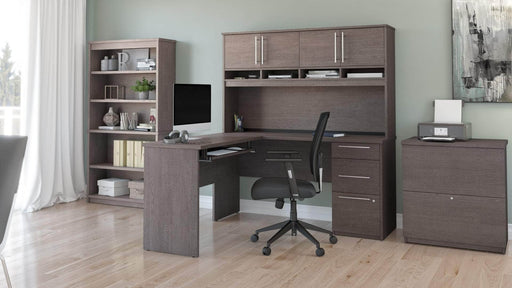 Pending - Bestar L-Desk Innova L-Shaped Desk with Pedestal and Hutch, 1 Lateral File Cabinet, and 1 Bookcase - Available in 2 Colours
