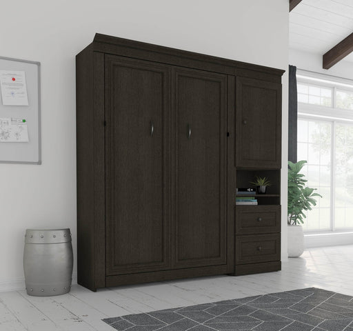 "Pending - Bestar Queen Murphy Bed Deep Grey Versatile Queen Murphy Bed and 1 Storage Unit with Mobile Nightstand (94"") - Deep Grey"
