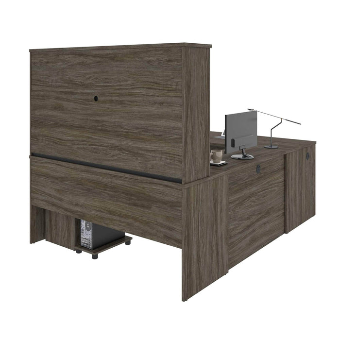 Pending - Bestar U-Desk Walnut Grey Embassy U-Shaped Executive Desk with Pedestal and Hutch - Walnut Grey