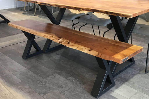 "Corcoran Bench 67"" Live Edge Bench with Black  X Legs - Available with 3 Wood Types"