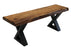 "Pending - Corcoran Bench Black X Legs Incomplete Pics - Live Edge Acacia Bench L 48"" - Available with 6 Leg Styles"