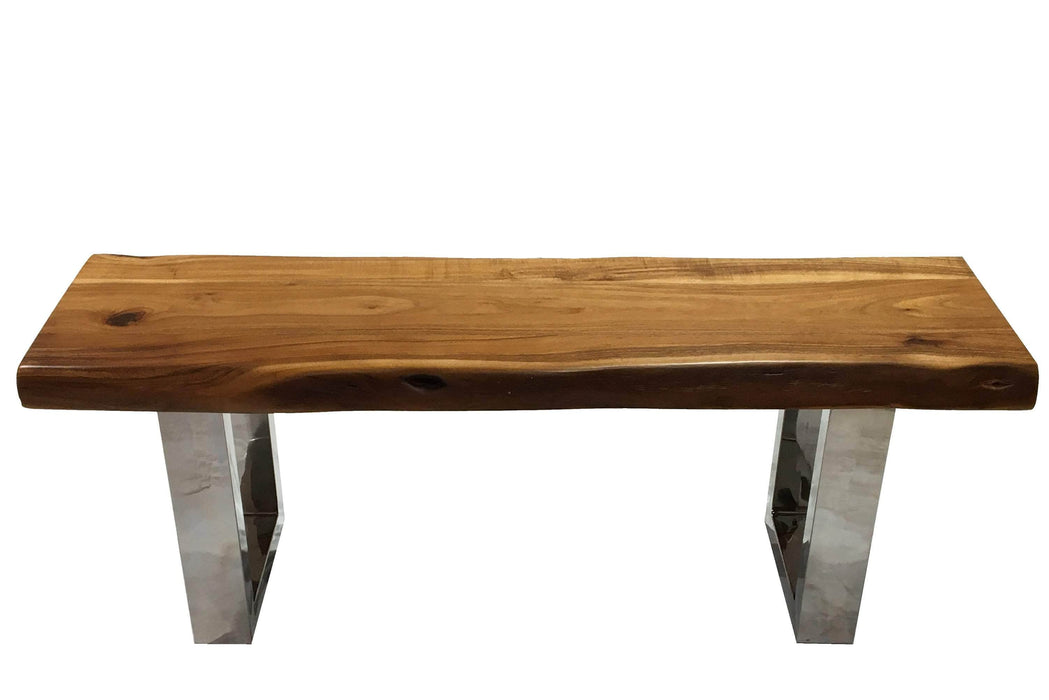 "Pending - Corcoran Bench Incomplete Pics - Live Edge Acacia Bench L 48"" - Available with 6 Leg Styles"