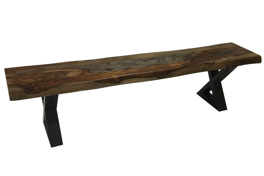 "Pending - Corcoran Bench Live Edge Grey Sheesham Bench L 84"" - Available with 6 Leg Styles"