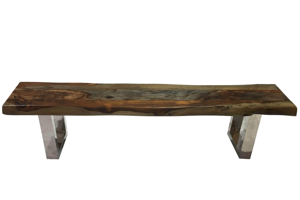 "Live Edge Grey Sheesham Bench L 84"" with Stainless U Legs"