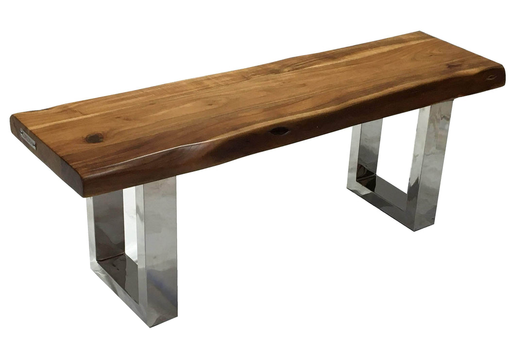 "Pending - Corcoran Bench Stainless U Legs ZZZZX No Pics - Live Edge Acacia Bench L 48"" - Available with 6 Leg Styles"