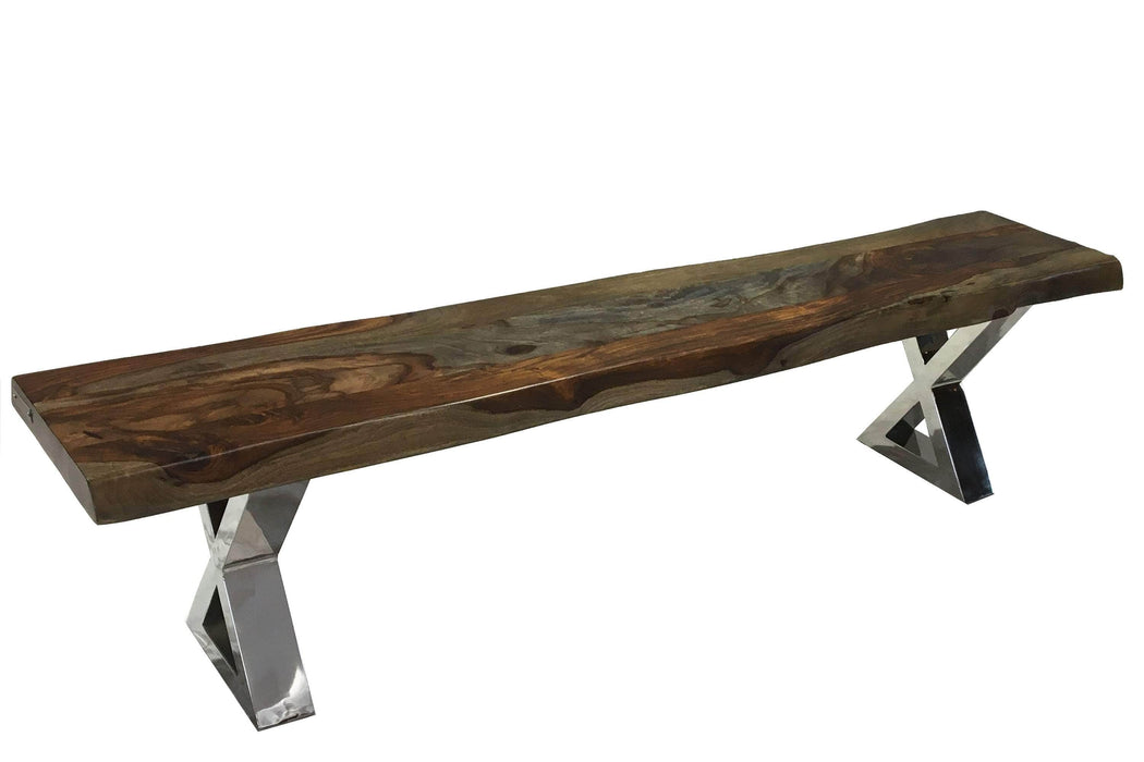 "Live Edge Grey Sheesham Bench L 84"" with Stainless X Legs"
