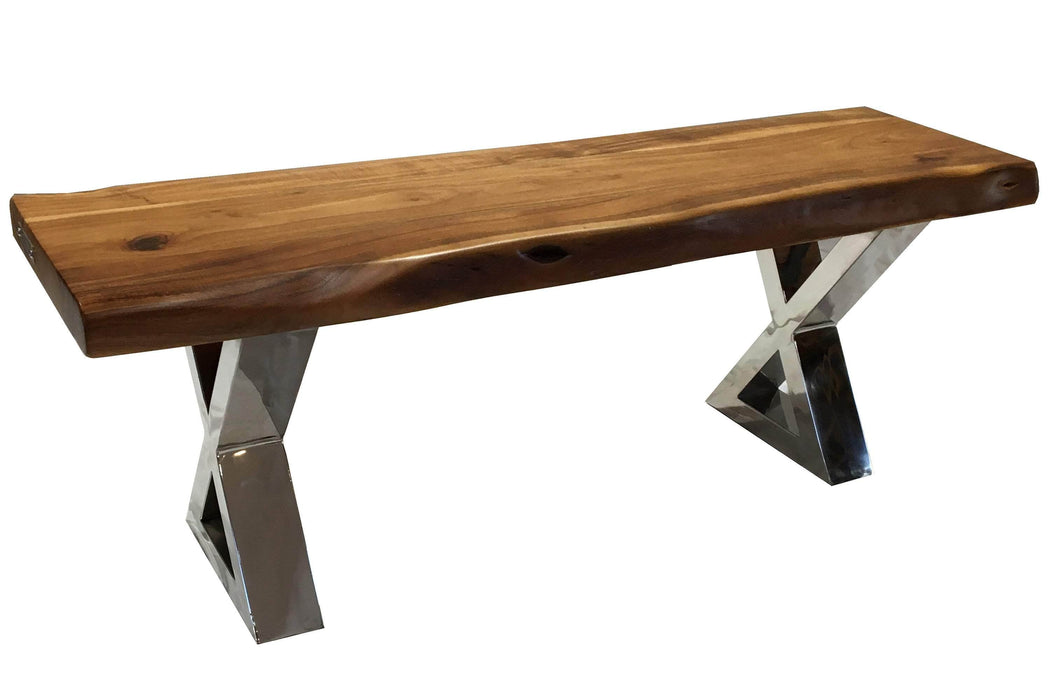 "Pending - Corcoran Bench Stainless X Legs ZZZZX No Pics - Live Edge Acacia Bench L 48"" - Available with 6 Leg Styles"