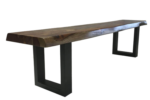 "Live Edge Grey Sheesham Bench L 72"" with Black U Legs"