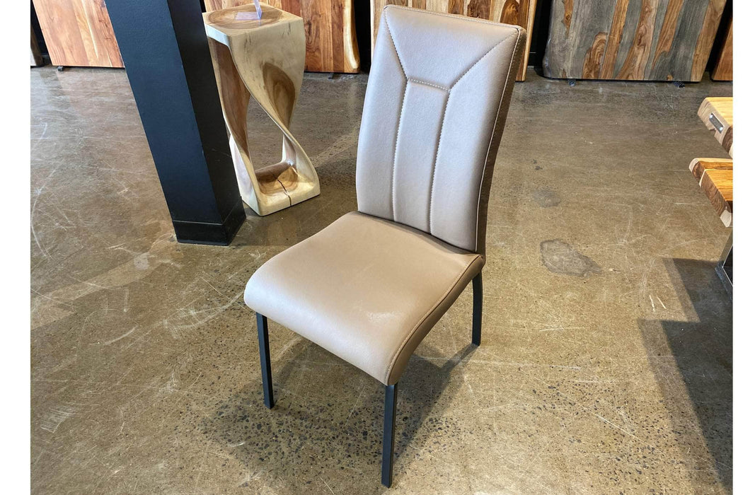 Corcoran Chair Taupe Leather Chairs (Set of 2) - Available in 4 Colours