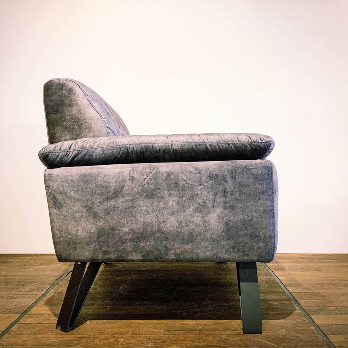 Corcoran Sofa Chair Asphalt Grey Accent Sofa Chair Made In Velvet