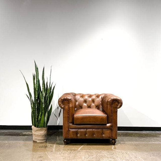 Corcoran Tan Tufted Genuine Leather Accent Chair with Rolled Arms