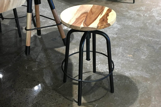 Corcoran Stool Sheesham Adjustable Round Stool - Available with 2 Wood Types
