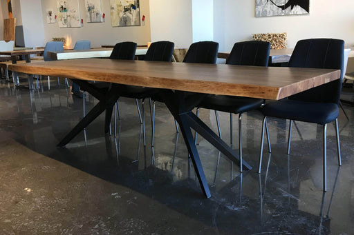 "Corcoran Table 108"" Live Edge Acacia Table - Available with 7 Leg Styles"