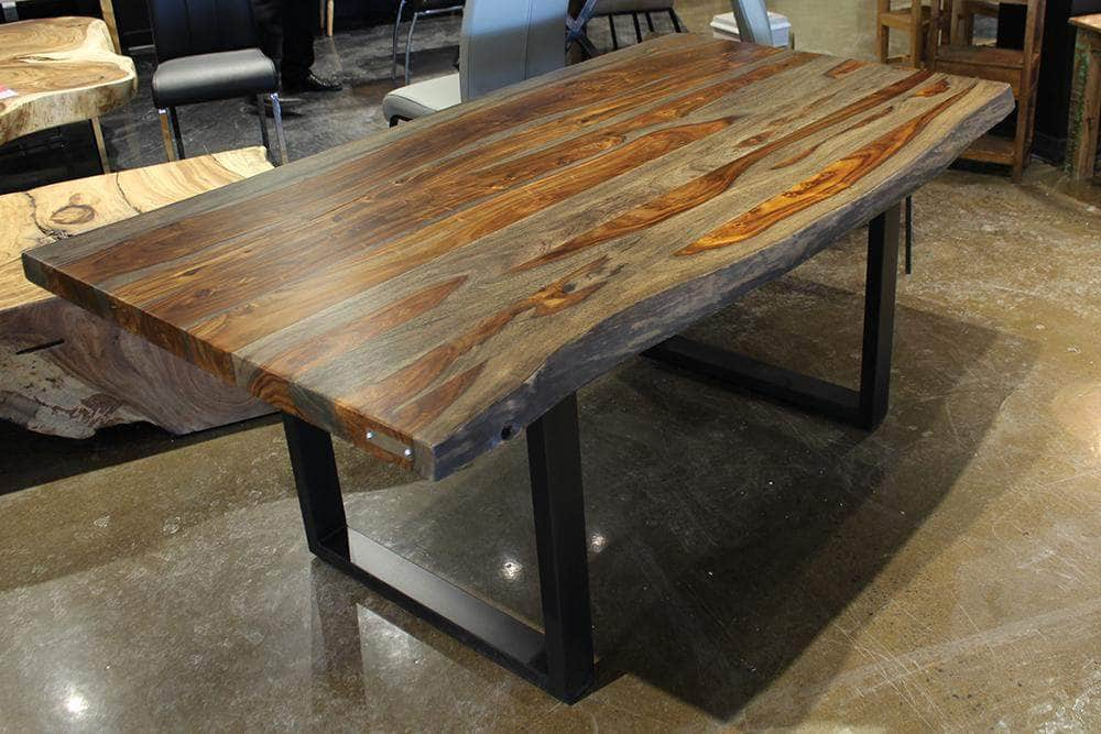 "Corcoran Table 72"" Live Edge Grey Sheesham Dining Table - Available with 6 Leg Styles"