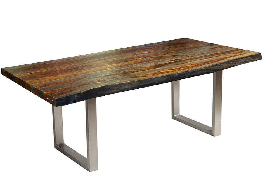 "Corcoran Table 72"" Live Edge Grey Sheesham Table - Available with 6 Leg Styles"