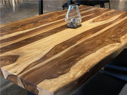 "Corcoran Table 72"" Live Edge  Sheesham Table - Available with 6 Leg Styles"