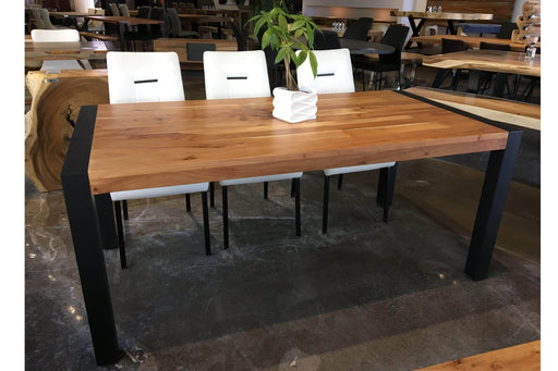 Corcoran Table Acacia 70'' Dining Table with Black Legs - Available with 3 Wood Types