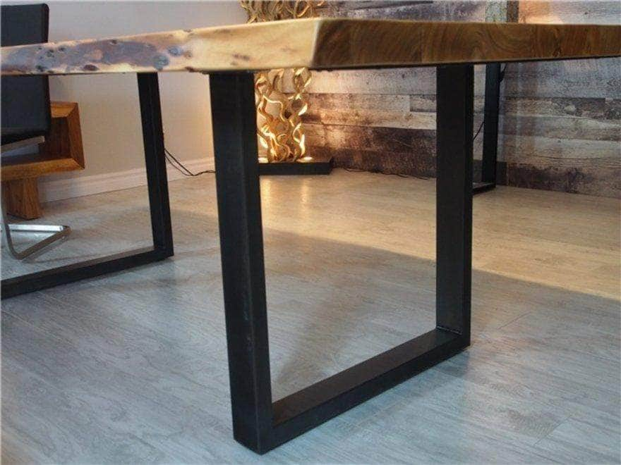 "Corcoran Table Black U Legs 108"" Live Edge Acacia Table - Available with 7 Leg Styles"