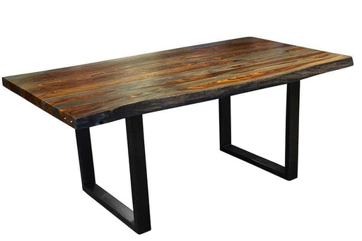 "Corcoran Table Black U Legs 72"" Live Edge Grey Sheesham Table - Available with 6 Leg Styles"