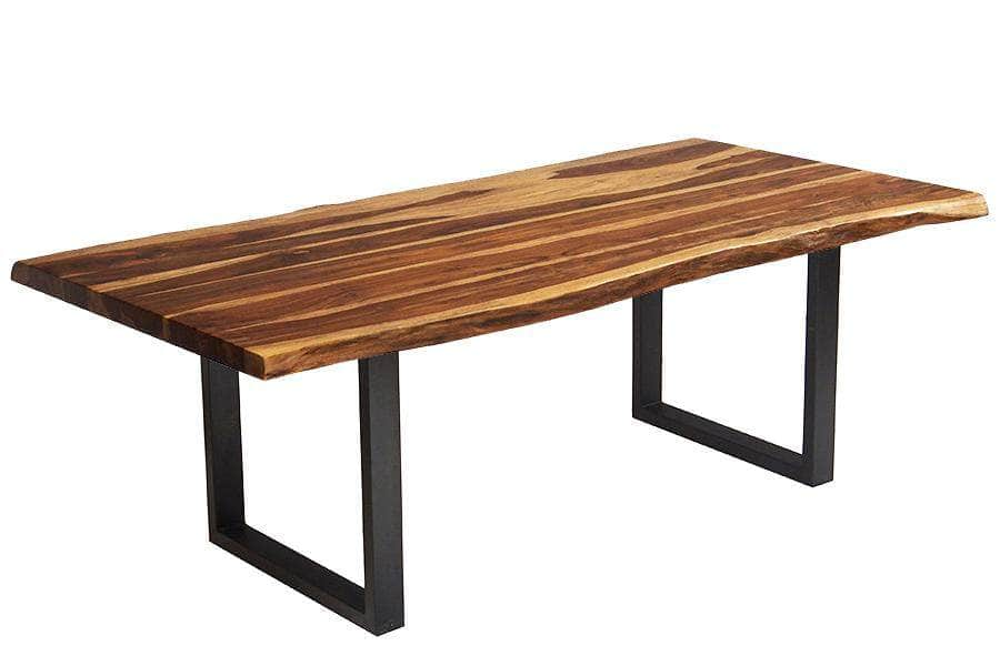 "Corcoran Table Black U Legs 84"" Live Edge Sheesham Table - Available with 8 Leg Styles"