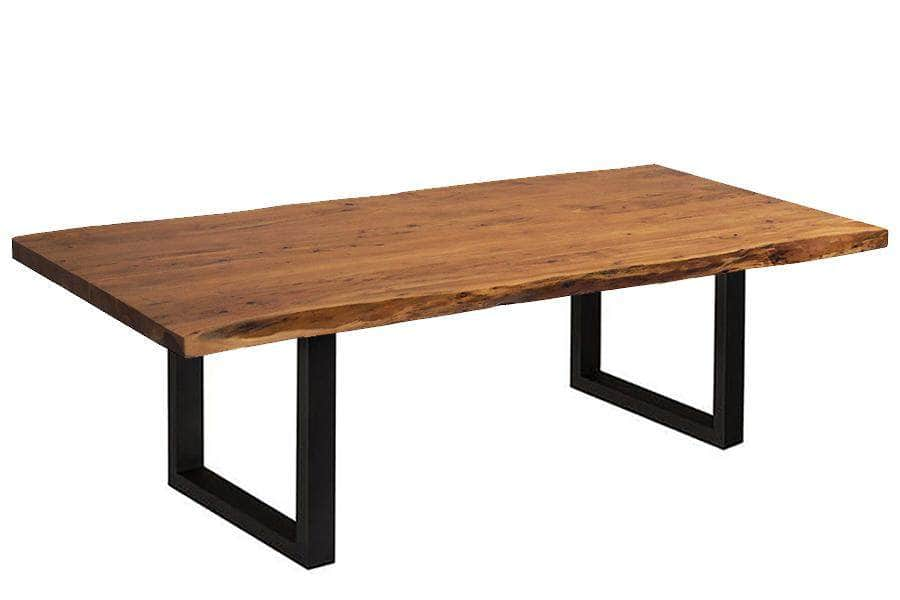 "Corcoran Table Black U Legs 96"" Live Edge Acacia Table - Available with 8 Leg Styles"