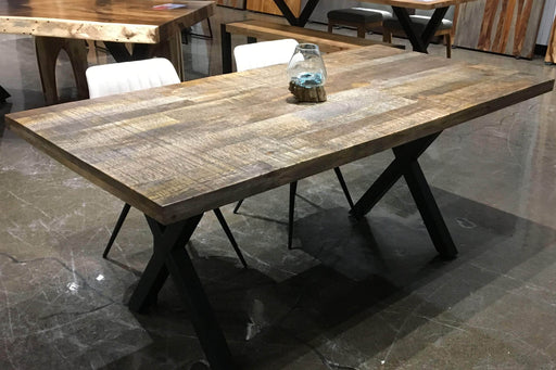 Corcoran Table Black X Legs 70'' Sandblasted Mango  Table with Black X Legs