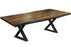 "Corcoran Table Black X Legs 72"" Live Edge Grey Sheesham Table - Available with 6 Leg Styles"